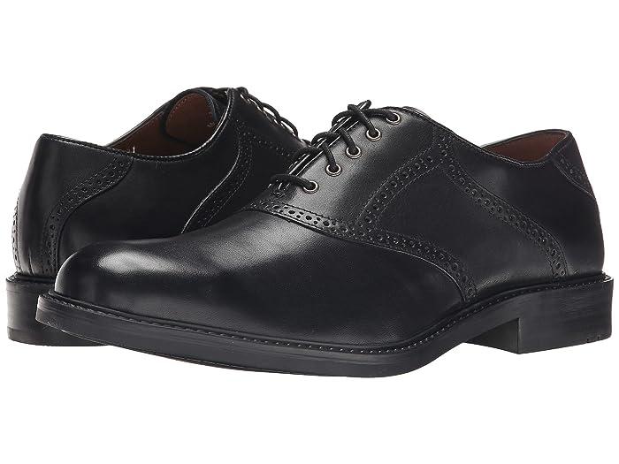 Johnston and Murphy  Tabor Saddle Dress Oxford (Black Calfskin) Mens Plain Toe Shoes