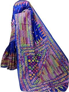 بلوزة ساري نسائية بنغال هندي أزرق من الحرير Bnaglori لحفلات الزفاف الساري كامل الجسم خيط عمل يدوي الكناثا 916a 3