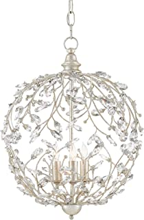 Currey and Company 9000-0076 Crystal Bud - Three Light Sphere Chandelier, Silver Granello Finish with Clear Crystal