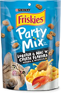 Purina Friskies Made in USA Facilities Cat Treats, Party Mix Lobster & Mac 'N' Cheese Flavors -  6 oz. Pouches (Pack of 6)