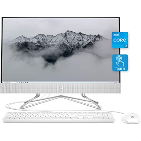 "HP All-in-One Desktop PC, 11th Gen Intel Core i5-1135G7 Processor, 8 GB RAM, 512 GB SSD Storage, Full HD 23.8"" Touchscreen, Windows 10 Home, Remote Work Ready, Mouse and Keyboard (24-df1270, 2021)"