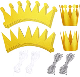 12-Pack Gold Crown Party Hats - Princess Prince Theme Party Supplies, Kids Birthday Party Supplies, King and Queen Style