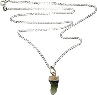 SatinCrystals Moldavite Necklace Sterling Silver Curb Chain Genuine Green Tektite Meteorite Pendant B13
