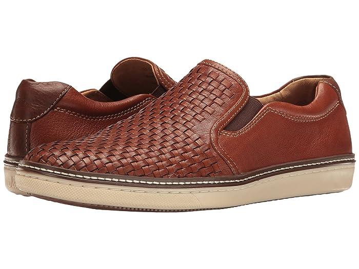 Johnston and Murphy  McGuffey Woven Casual Slip-On Sneaker (Tan Full Grain) Mens Slip on  Shoes