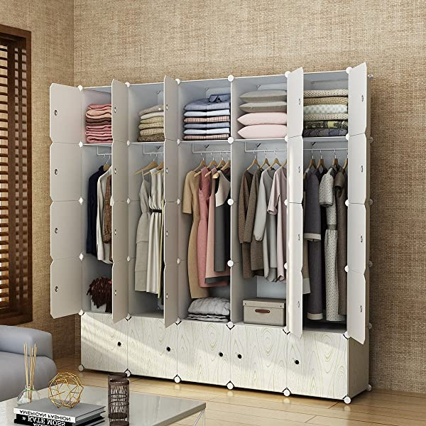 MAGINELS Closet Shelves Wardrobe Clothes Organizer Cube Storage Armoire Cabinet Dresser For Bedroom Portable Wood Grain 10 Cube 5 Hanging Section