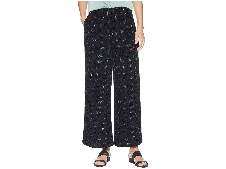 Eileen Fisher Morse Code Wide Leg Cropped Pants (Black) Women