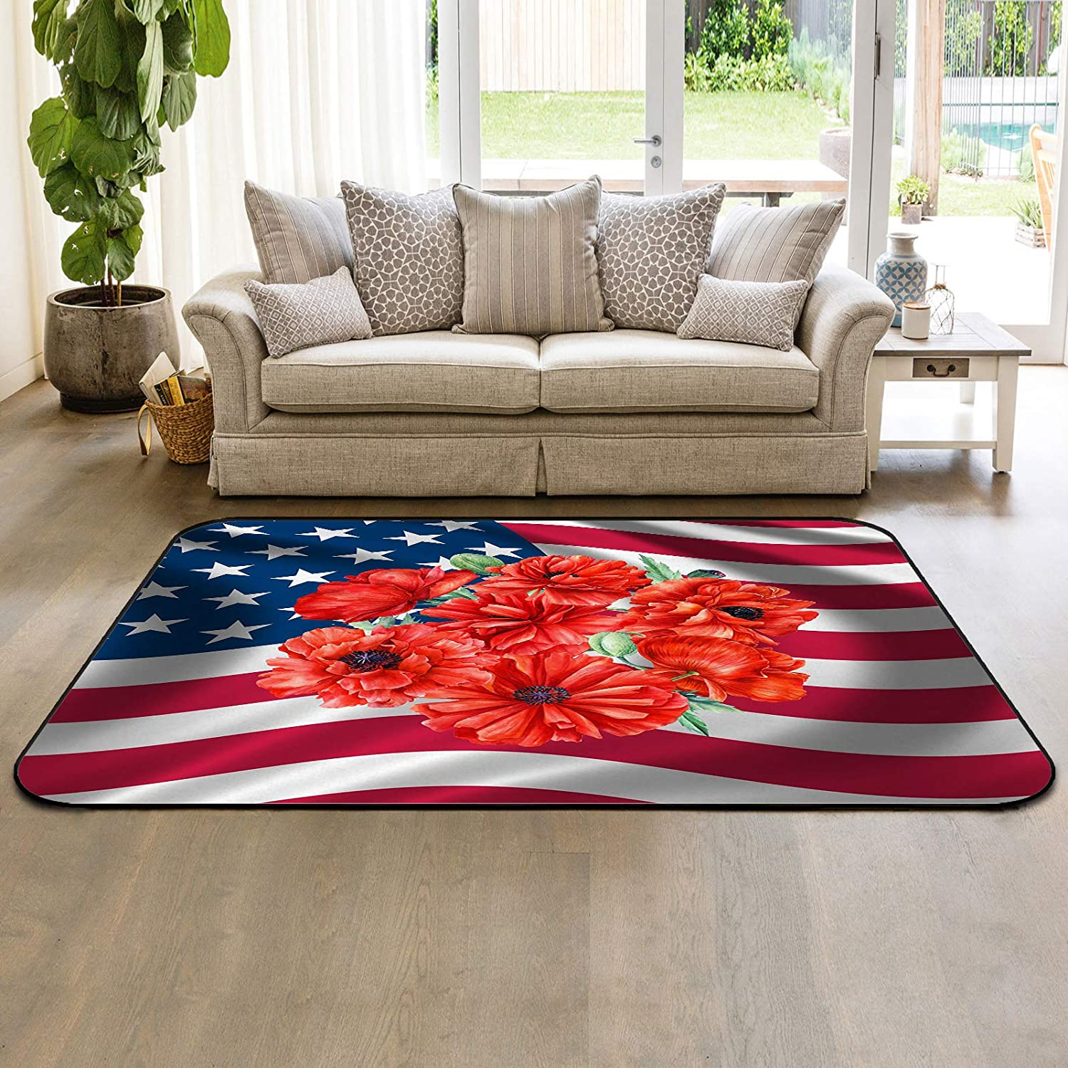 HomeDecorArt Non Slip OFFicial store Indoor Throw Accent Ame Product Carpet Floor Rugs