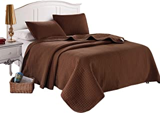 King Brown Solid Color Box Stitch Quilted Bedspread Coverlet 96 by 102 inches plus 2 King Shams 20 by 36 inch Hypoallergenic Reversible Bed Cover for Homes,Hotels,Motels, Rentals 5.22 lbs