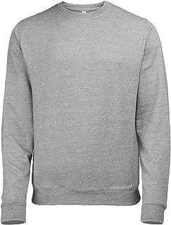 Geeney Mens Fleece Jumper Round Crew Neck Long Sleeve Cotton Raglan Sweatshirt Classic Work Wear Sweater Cardigan Top Grey