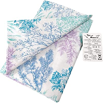 """Underwater Pastel Colored Seaweed on White Background Vinyl Tablecloth with Custom Magnet - Flannel Backing (60"""" Round)"""