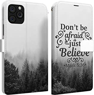 Mertak Wallet Case Compatible with iPhone 11 Pro Max SE 10 Xr Xs X 8 Plus 7 6s Mark 5:36 Don't be Afraid Slim Fit Quote Li...