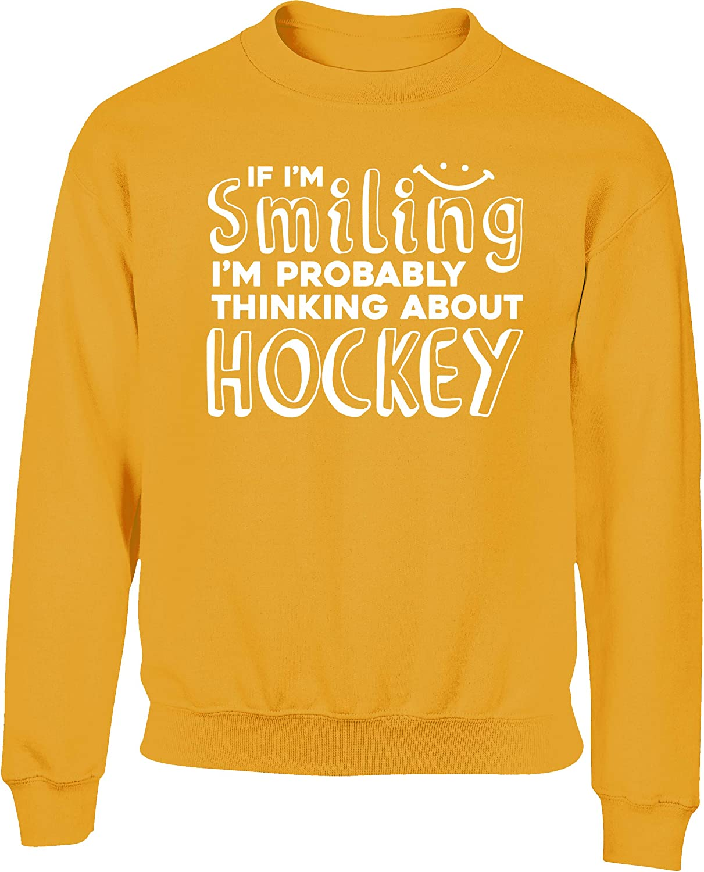 Hippowarehouse If Im Smiling Im Probably Thinking About Hockey Kids Childrens Unisex Jumper Sweatshirt Pullover