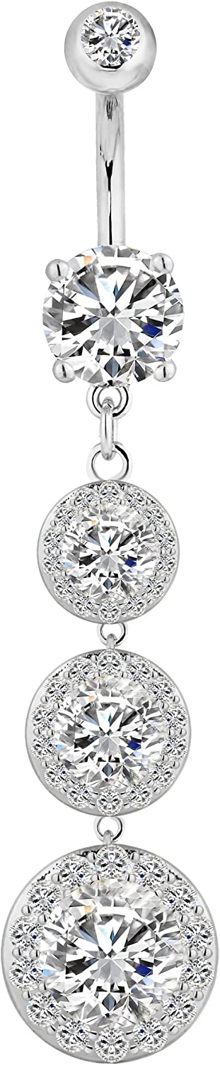 Forbidden Body Jewelry Sexy Dangle Triple CZ Crystal Drop Ultra Glam Bling Belly Button Ring