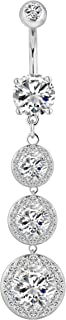 14g Sexy Dangle Triple CZ Crystal Drop Ultra Bling Belly Button Ring