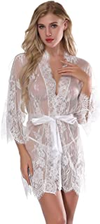 2def5a4aa94 Itisovo Women s Lace Kimono Robe Sheer Babydoll Lingerie Mesh Nightgown See  Through Lace Chemise with G