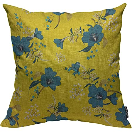 Amazon Com Mugod Blue Floral Throw Pillow Cover Bright Summer Many Kind Of Flowers On The Yellow Background Decorative Square Pillow Case For Home Bedroom Living Room Cushion Cover 18x18 Inch Home