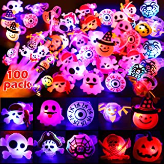 100 Pieces Halloween LED Glow Flash Rings Luminous Finger Rings Light up Ring Toys Glow in The Dark Party Supplies Hallowe...