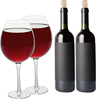 Oversized XL Giant Wine Glass -33.5 oz - Holds a full bottle of wine! (2 Glasses)