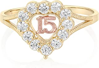 14K Solid Tri Color Gold Sweet 15 Anos 15 Years Birthday Quinceanera CZ Heart Cut Ring