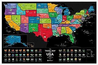 Travel Map Region (USA) トラベルマップ リージョン USA スクラッチ世界地図 プラスチック 旅行 ポスター 40×60cm