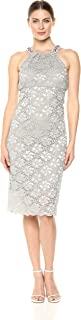 Women's Midi Cocktail Dress with Beaded Halter Neck and Scallop Hem