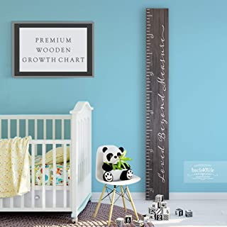 Back40Life - Premium Series - (Loved Beyond Measure) Wooden Growth Chart Height Ruler (Ebony Wash)