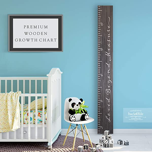 Back40Life Premium Series Loved Beyond Measure Wooden Growth Chart Height Ruler Ebony Wash