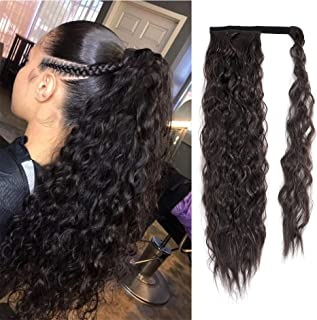 24inch Wavy Curly Wrap Around Ponytail Synthetic Magic Tape Yaki Ponytail Corn Wave Ponytail Synthetic Ponytail One Piece (24 inch, 2#)