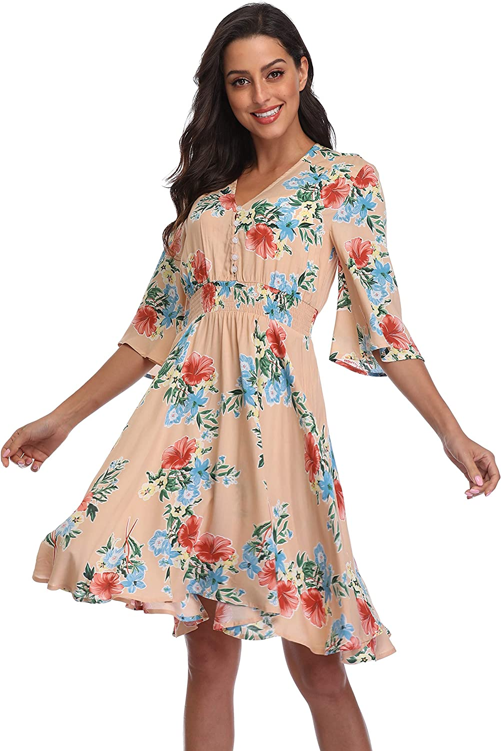 BestWendding Gorgeous Ranking TOP19 Summer Floral Flowy Party Dresses Women Casual Butt