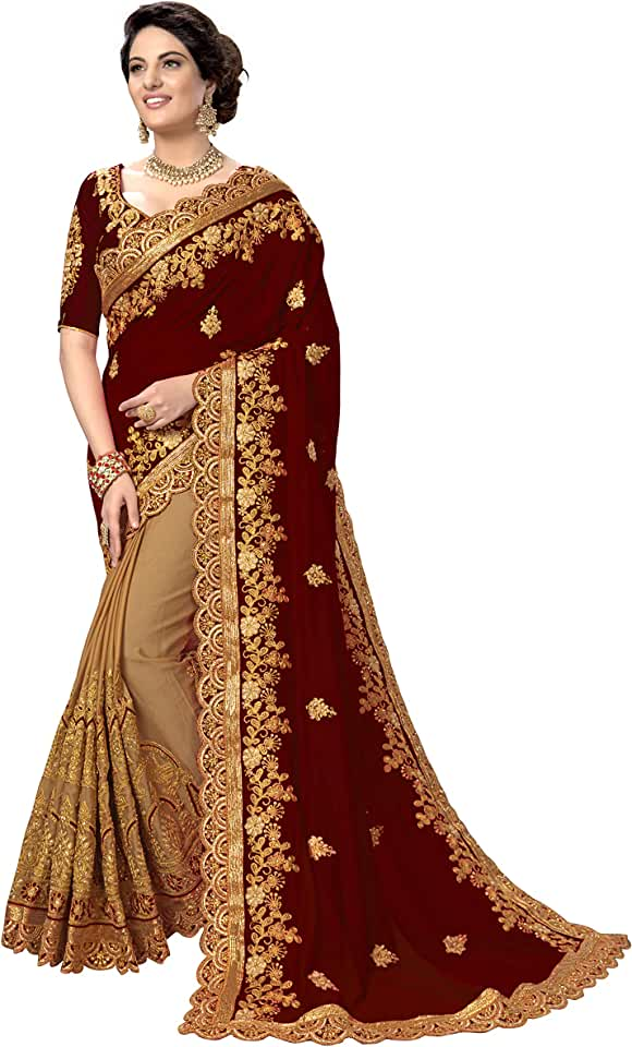 Indian Nivah Fashion Women's Woven Silk Blend Saree With Unstiched Blouse Piece Saree