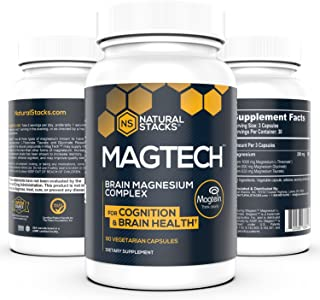 Natural Stacks: MagTech - Magnesium Complex - 30 Day Supply - Promote Brain Health - Improve Cognitive Aging - Help with Sleep Support - Vitamin and Dietary Supplement