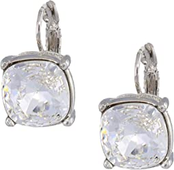 Silver Eurowire/Crystal 12mm Faceted Square Stone Earrings