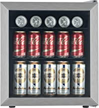 KUPPET 62-Can Beverage Cooler and Refrigerator, Small Mini Fridge for Home, Office or Bar with Glass Door and Adjustable Removable Shelves, Perfect for Soda Beer or Wine, Stainless Steel, 1.6 Cu.Ft.