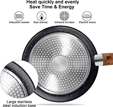 Induction Kitchen Cookware Sets Nonstick - Granite Hammered Pan Set 12 Piece, Dishwasher Safe Cooking Pots and Pans Set