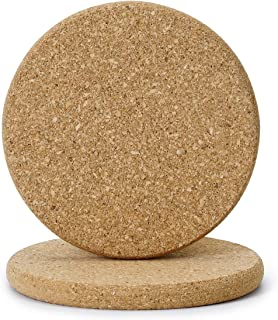 Greenaholics Cork Mats - 3.9 Inch Brown Absorbent Cork Mat for Planter Saucers, Hard and Sharp Object Cushion, Set of 2