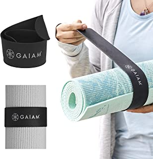 """Gaiam Yoga Mat Strap Slap Band - Keeps Your Mat Tightly Rolled and Secure, Fits Most Size Mats (20""""L x 1.5""""W), Black"""