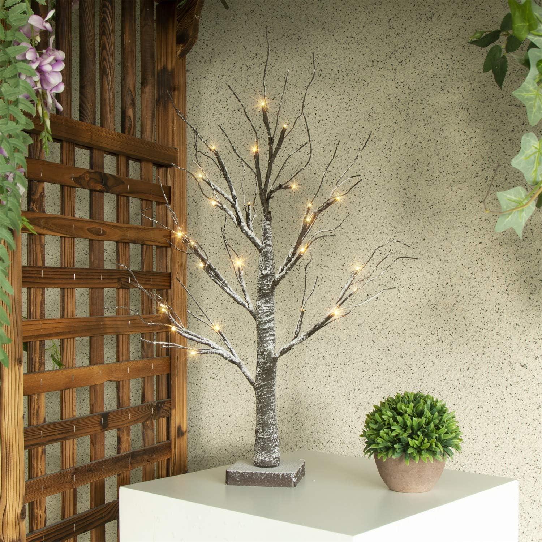 Vanthylit 2FT 24 LED Tabletop Twig Batte Lights 70% OFF sale Outlet Dusted Tree Snow