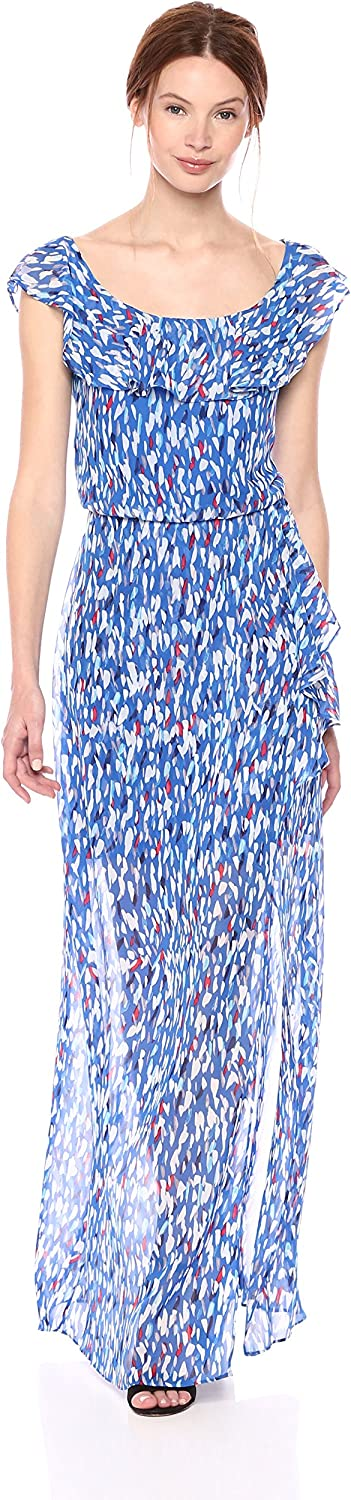 Nine West Womens Faux Wrap Maxi Dress with Ruffle Detail at Neck Dress