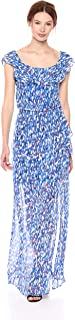 Women's Faux Wrap Maxi Dress with Ruffle Detail at Neck