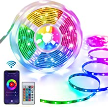 Homeyard Led Strip Lights 16.4FT Smart WiFi RGB Light Strips Work with Alexa 谷歌 Assistant Remote Voice APP Control Mus...