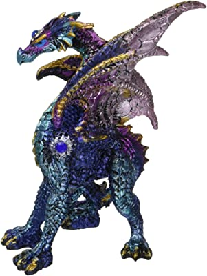 StealStreet 71704 5.25 Inch Blue and Purple Medieval Themed Dragon, Statue Figurine
