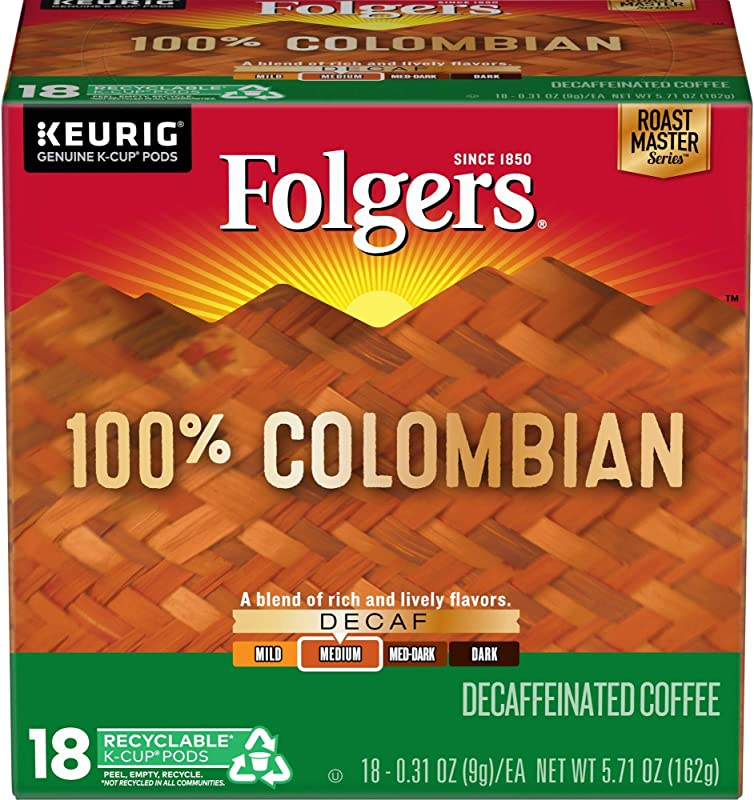Folgers Decaf 100 Colombian Medium Roast K Cup Pods For Keurig Brewers 18 Count Pack Of 4 Packaging May Vary