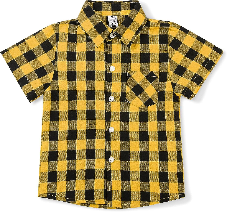 OCHENTA Boys' Short Sleeve Plaid Shirt Button Down Lightweight Dress Shirt Toddler Big Kid