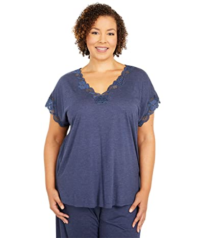 Natori Plus Size Zen Floral PJ Set (Heather Night Blue) Women