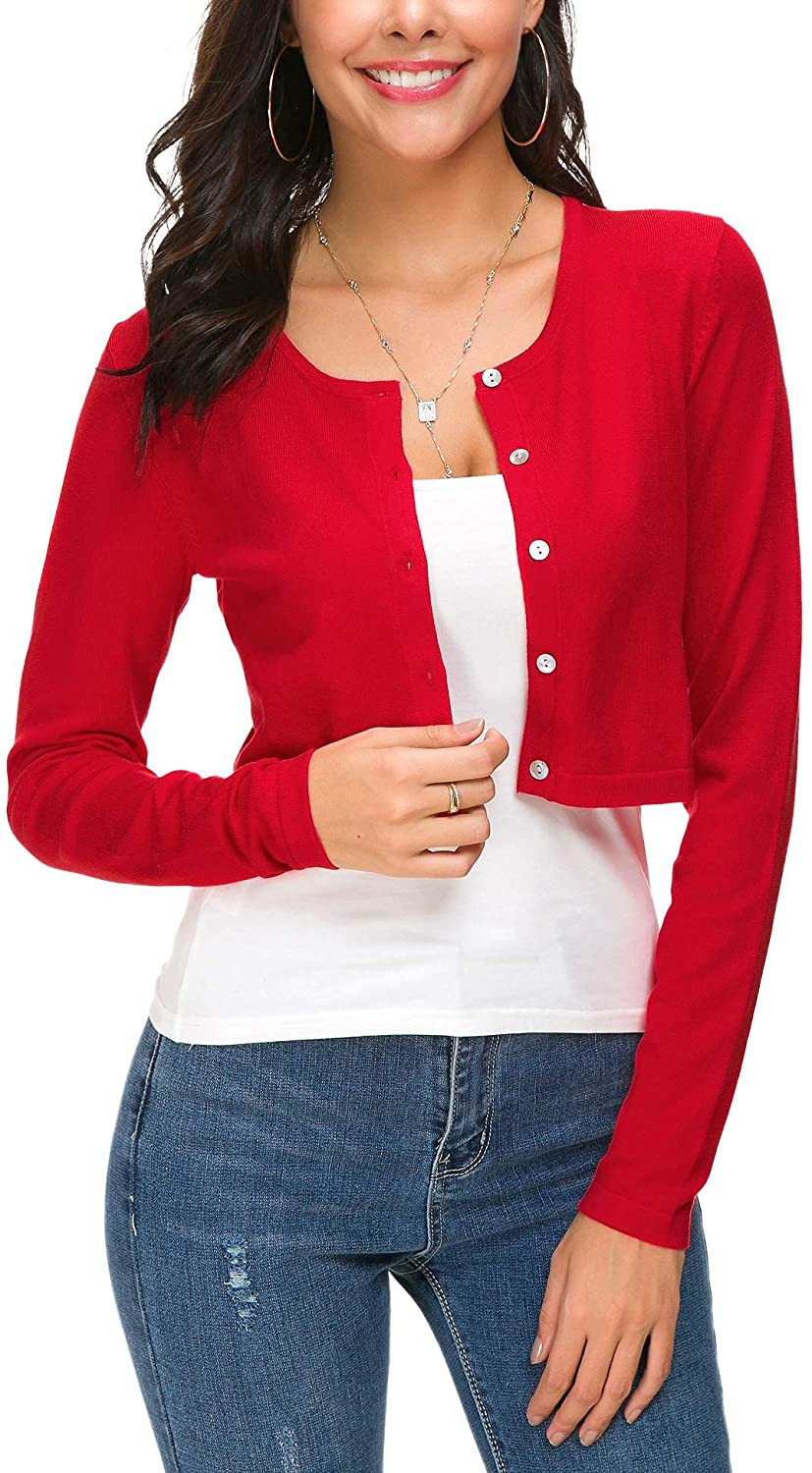 Women's Cropped Bolero Cardigan Button Down O-Neck Knitted Shrug Sweaters