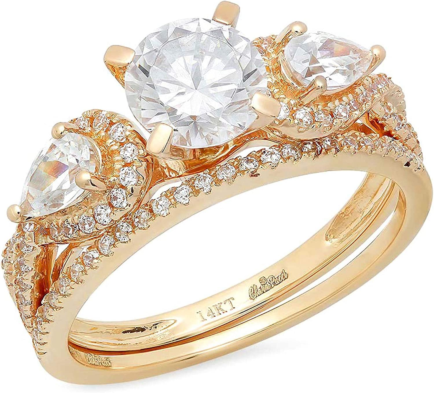 2.0ct Round Pear Cut Solitaire 3 stone Accent Lab Created White Sapphire & Simulated Diamond Engagement Promise Statement Anniversary Bridal Wedding Ring Band set Real Solid 14k Yellow Gold