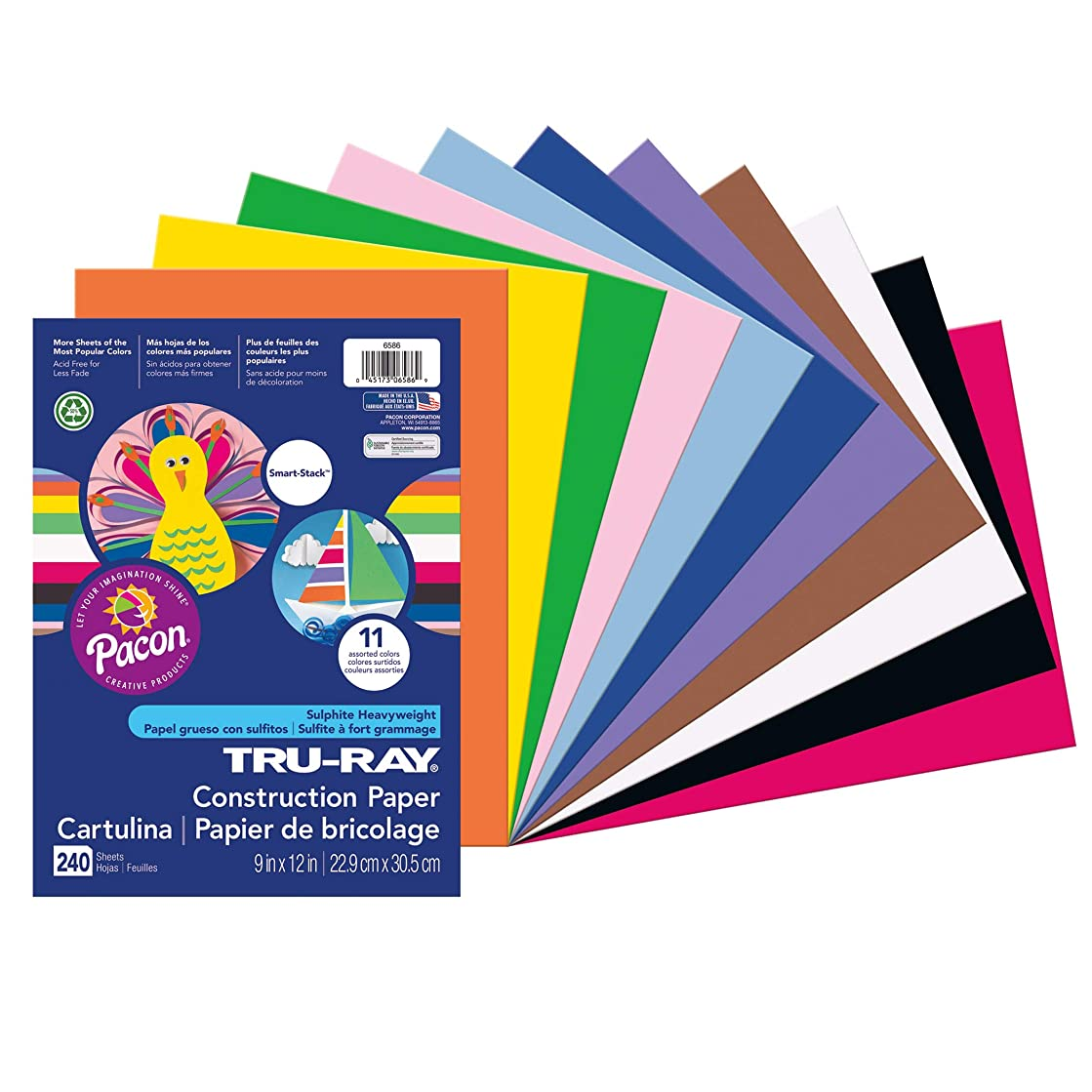 Tru-Ray PAC6586 Construction Paper Smart-Stack, 11 Assorted Colors, 9