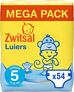 Zwitsal Luiers maat 5 (11-23 kg), comfortabel en langdurig droog, 54 luiers - Voordeelverpakking