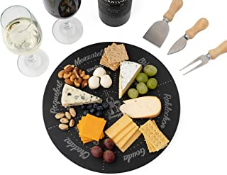 Permaggio Wine Pairing Cheese Board - Premium Eco Friendly Slate Platter Serving Tray with Cutlery Set