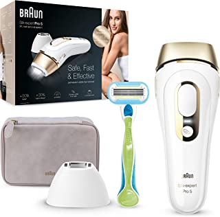 Braun IPL Silk Expert Pro 5 PL5124 Generation IPL, Permanent Visible Laser Hair Removal for Women and Men with Premium Pouch, Venus Razor and Precision Head, White and Gold